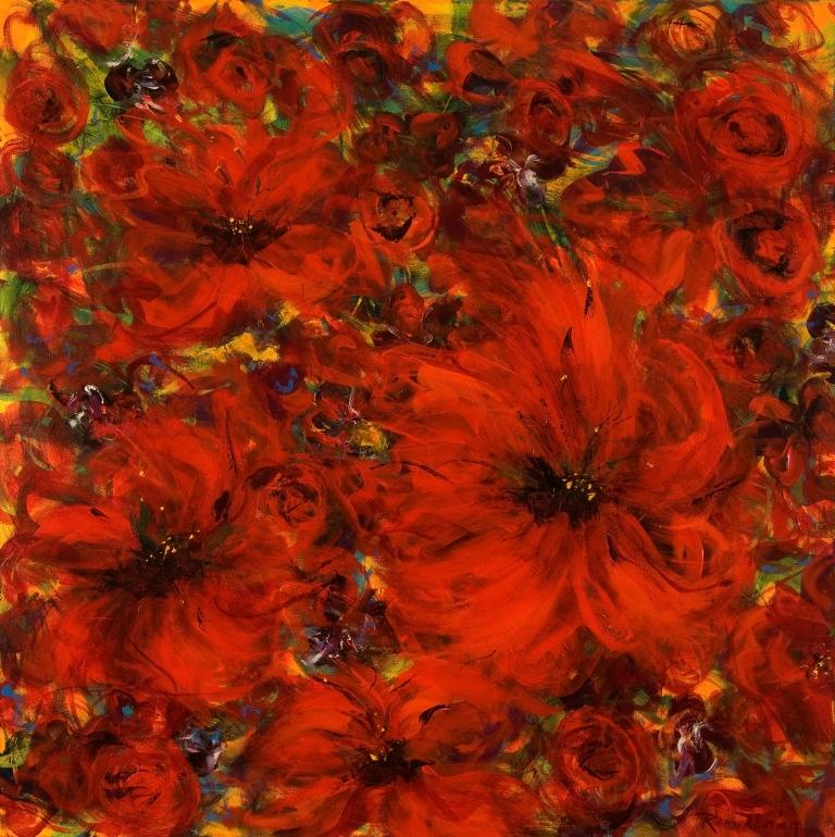 Red flower impression, 100x100