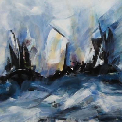 Storm op zee, 50 x 40 cm
