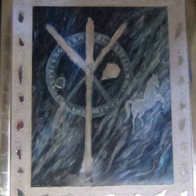 Algiz met bladgoudlijst, 100 x 85 cm
