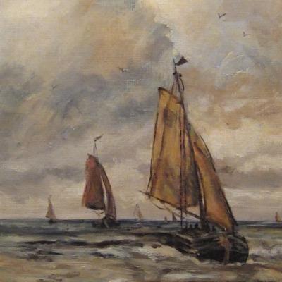 Incoming ships, 50 x 40 cm