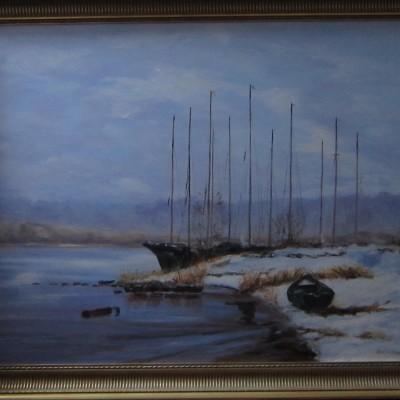 Winter aan de rivier, 70 x 90 cm