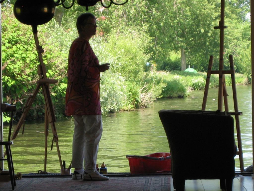 Buiten schilderworkshop op de boot